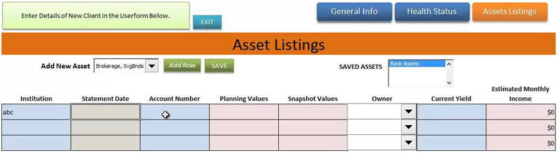 Asset Management Excel Sheet